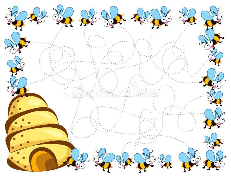 Trame d'abeilles occupées de dessin animé illustration libre de droits