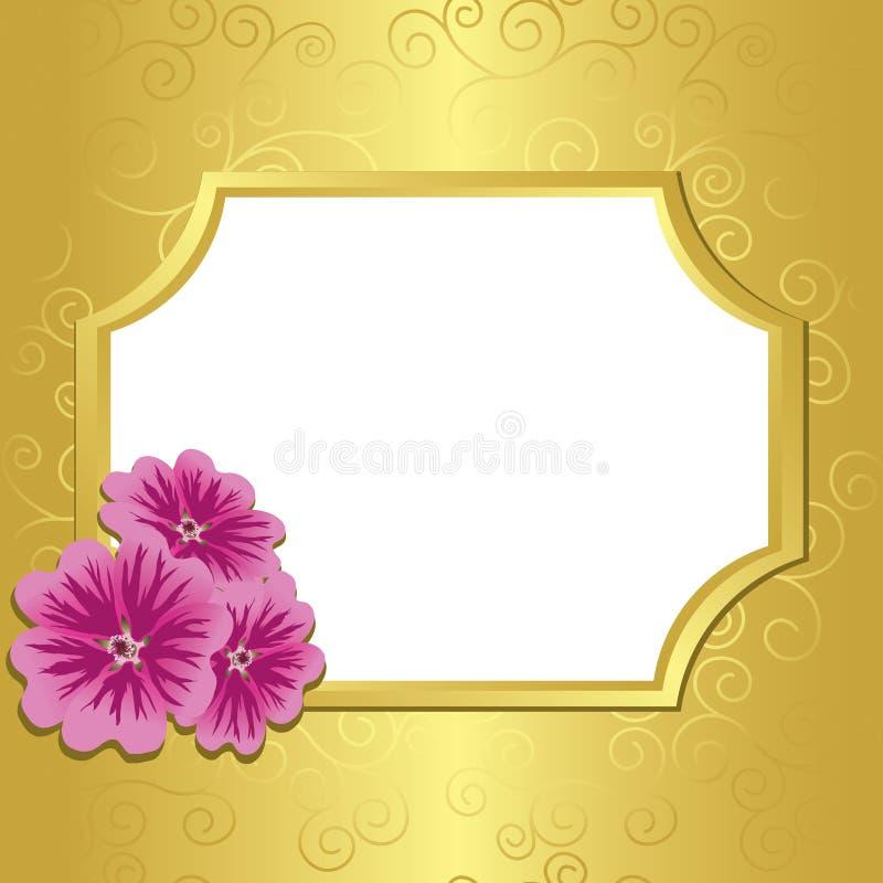 Trame d'or avec le malva de fleurs - ENV illustration stock