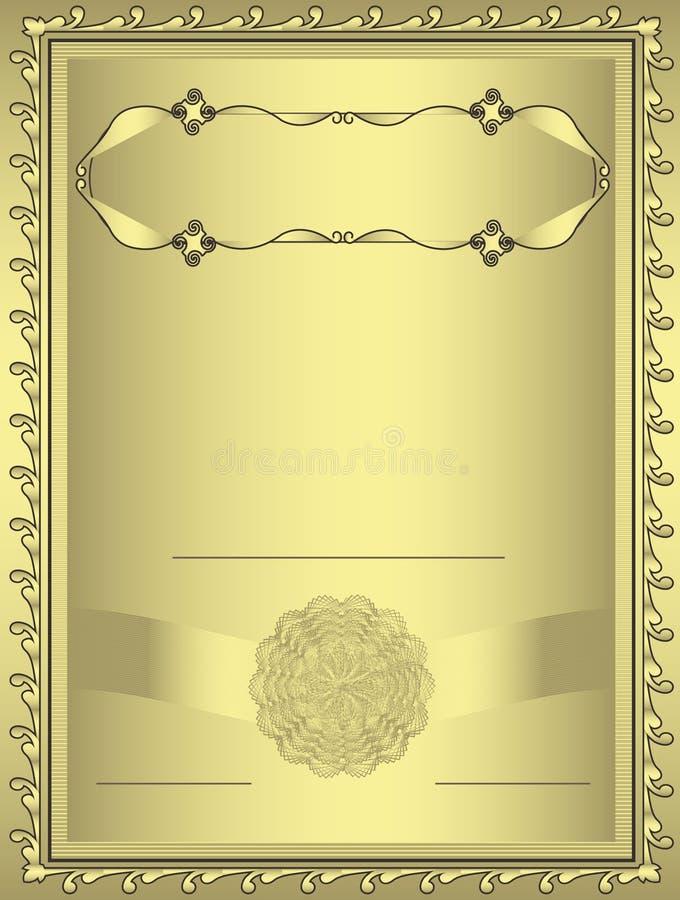 Trame d'or de certificat illustration stock