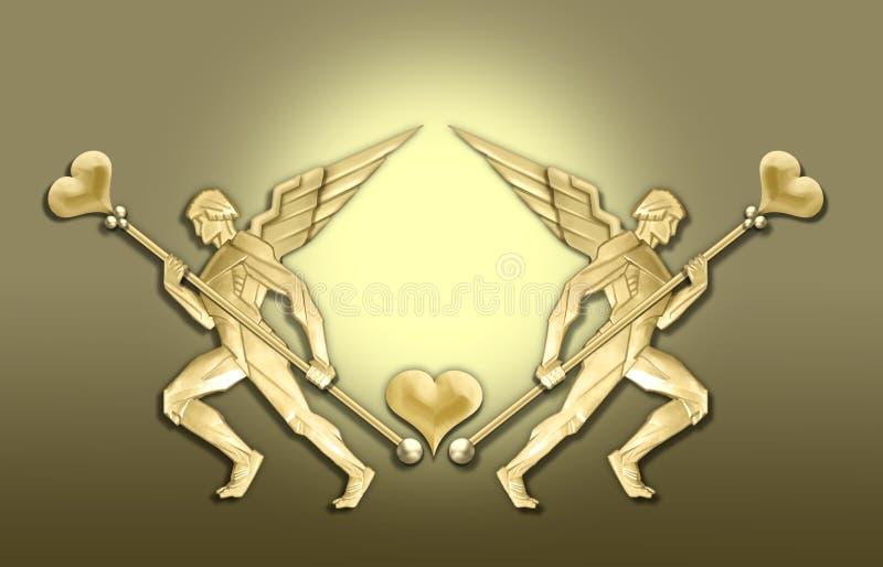 Trame d'or de coeur d'ange d'art déco illustration stock