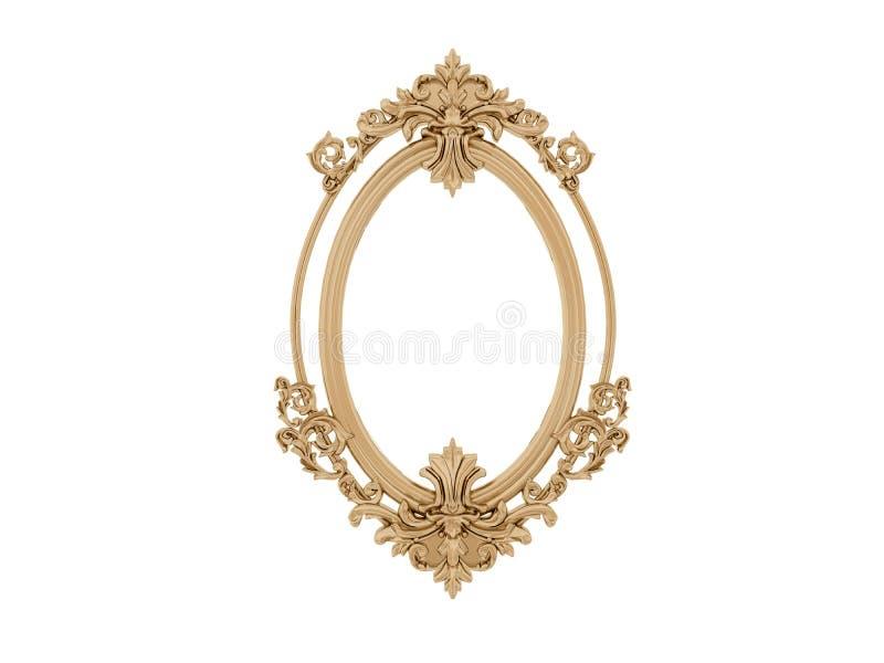 Trame d'or de cru Miroir d'isolat Rétro élément de conception réflexion réaliste physique image stock