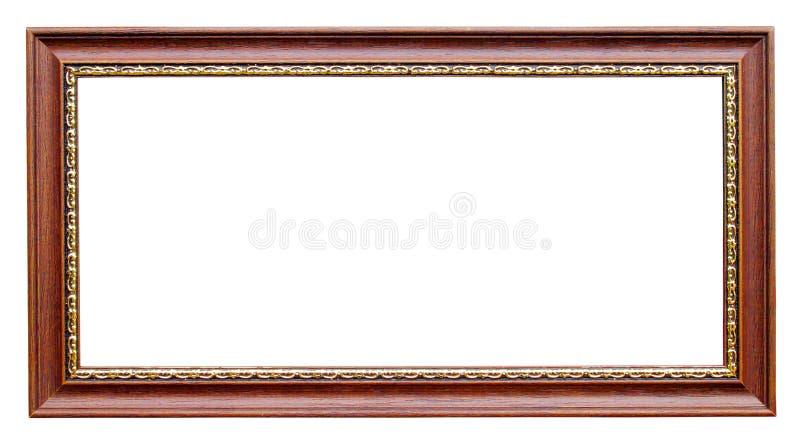 Trame d'or et en bois sur le blanc image stock