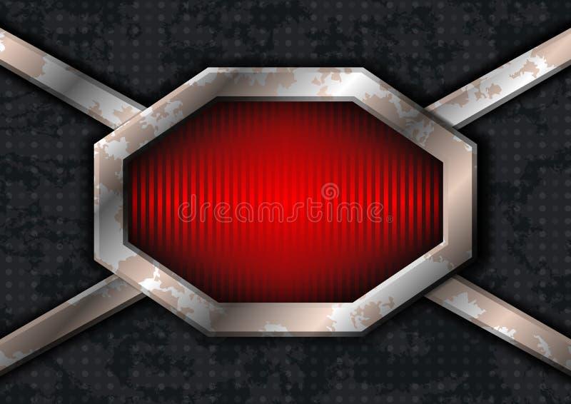 Trame d'hexa en métal sur le métal sale illustration libre de droits