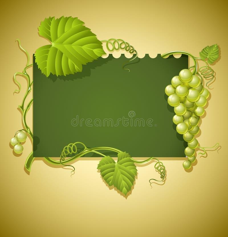 Trame de cru avec des raisins et des lames de vert illustration stock