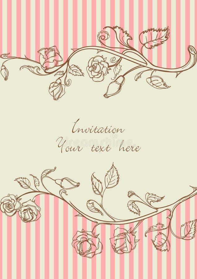 Trame de cru avec des roses illustration stock