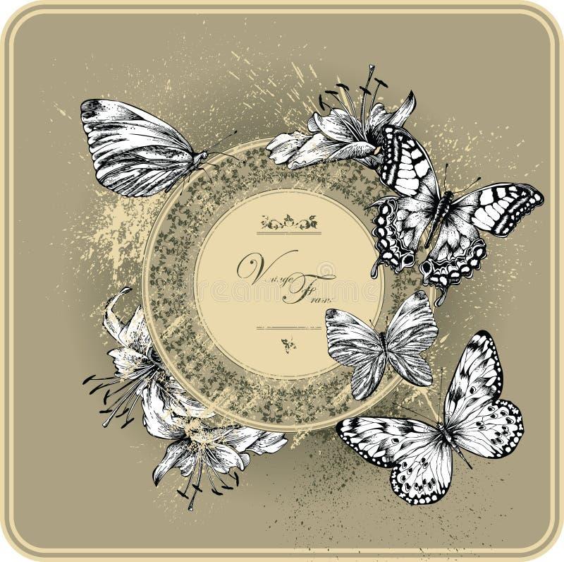 Trame de cru avec les lis et les guindineaux de floraison illustration libre de droits