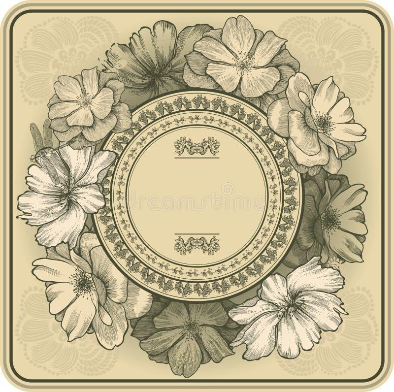 Trame de cru avec les roses et la libellule de floraison, h illustration de vecteur