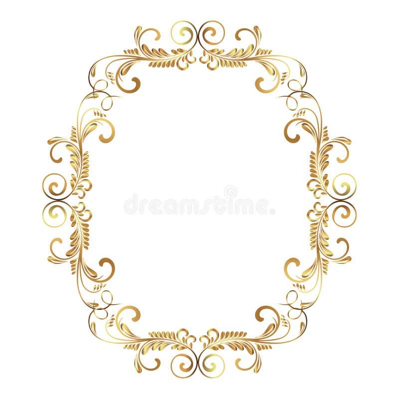 Trame de cru Modèle baroque de style Ornement floral élégant Carte de voeux Invitation de mariage Rétro type Templat de logo de v illustration de vecteur