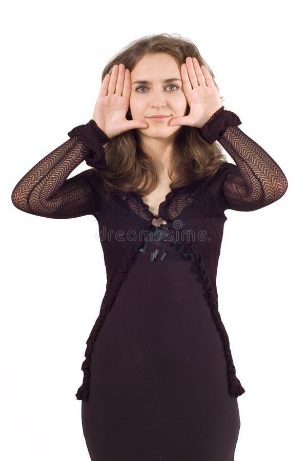 Trame de doigt avec le visage de fille photo stock