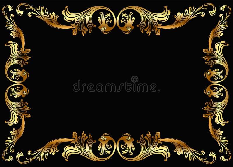 Trame de fond avec la configuration végétale de l'or (en) illustration libre de droits