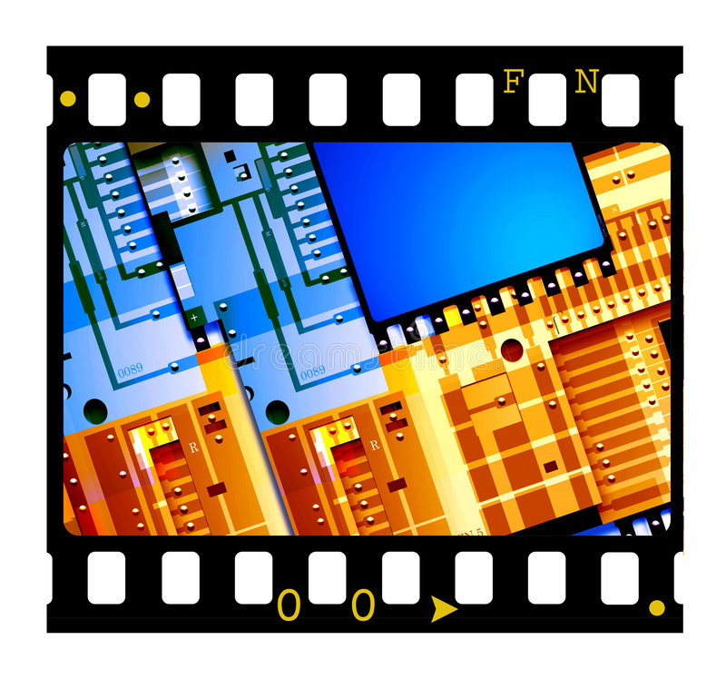 trame de glissière de 5mm avec l'électronique illustration de vecteur