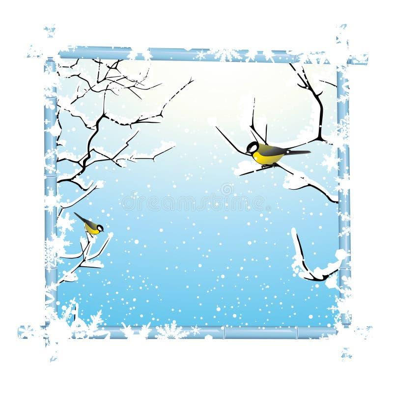 Trame de l'hiver avec le branchement et les oiseaux d'arbres illustration stock