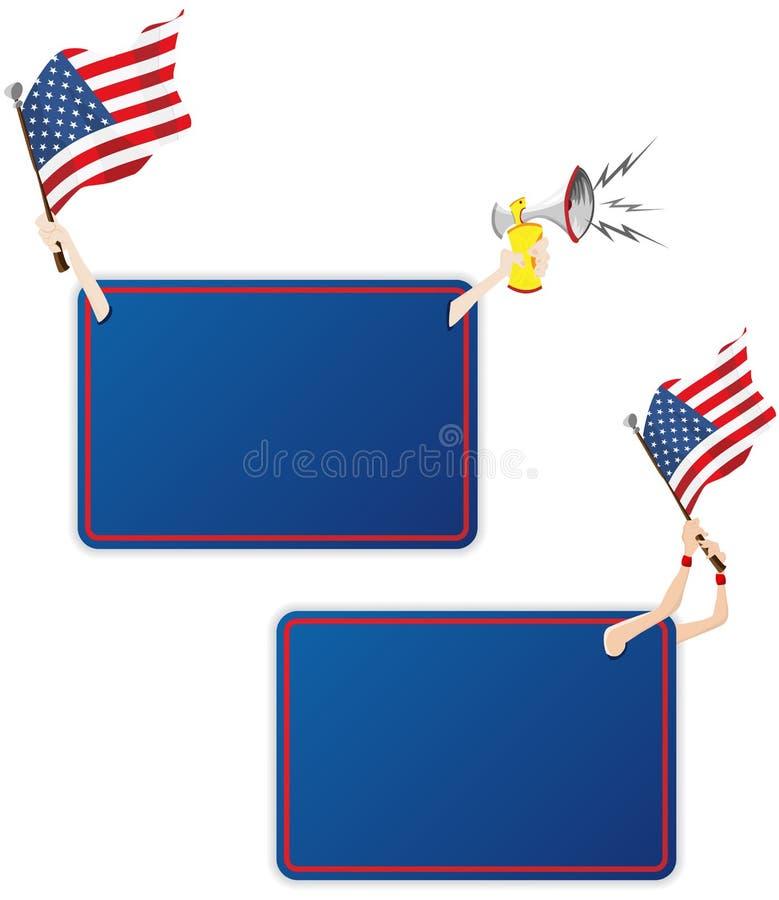 Trame de message de sport des Etats-Unis avec l'indicateur. illustration stock