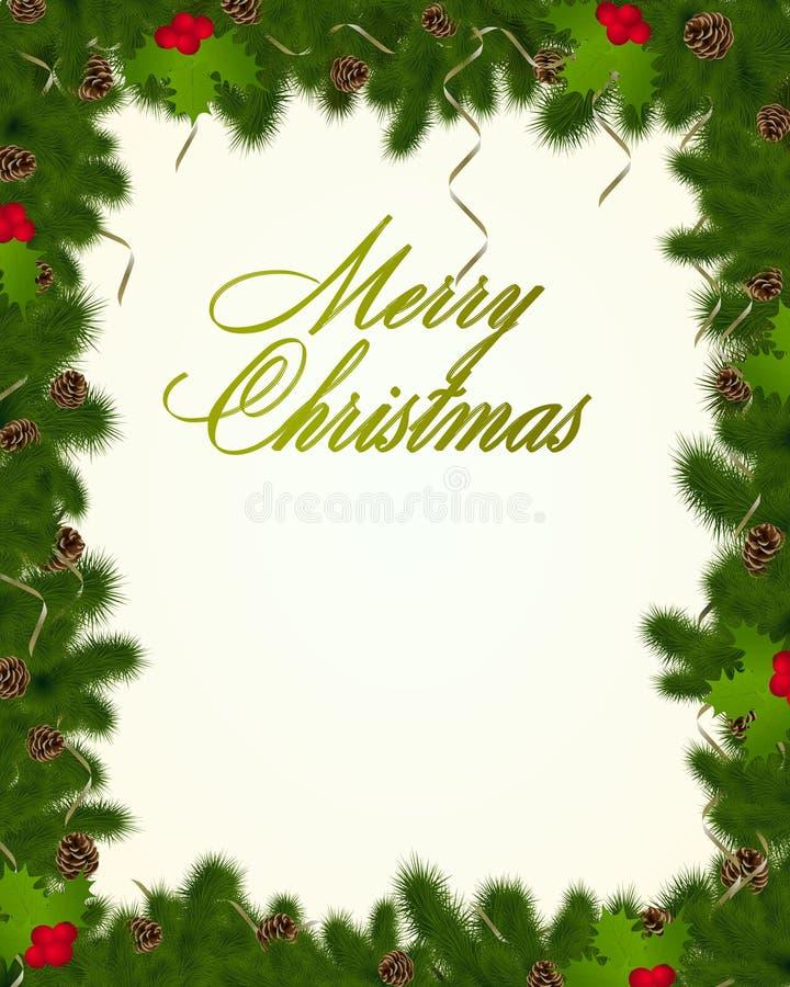 Trame de Noël avec des branchements de sapin illustration libre de droits