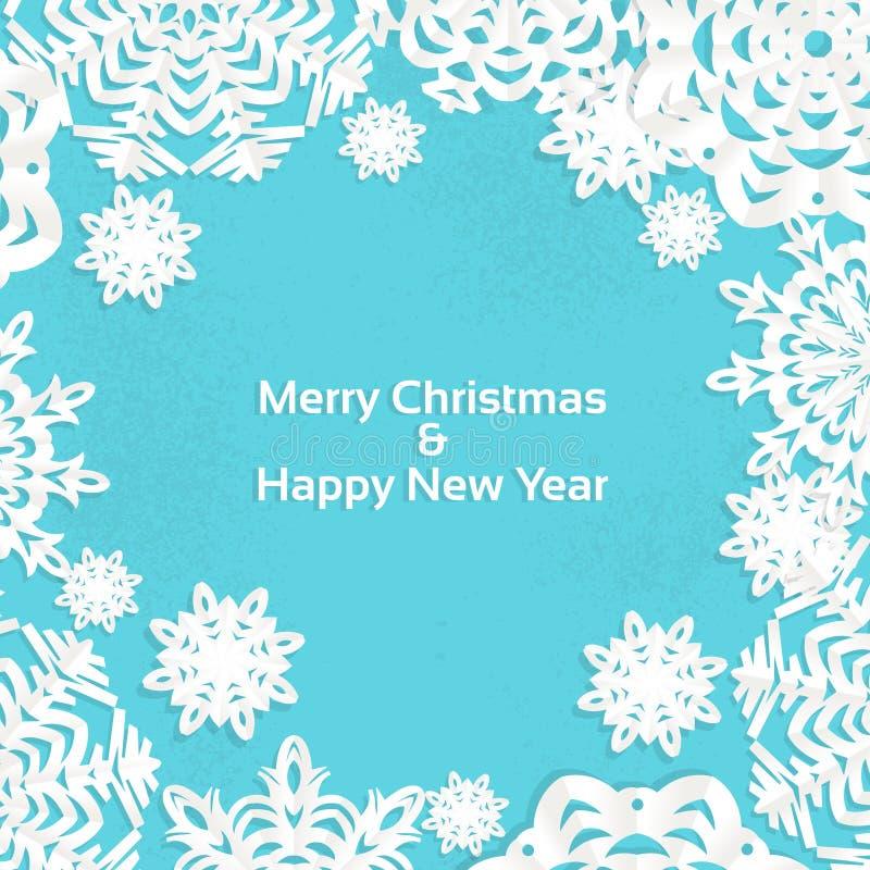 Trame de Noël de flocon de neige d'Applique pour votre texte illustration libre de droits