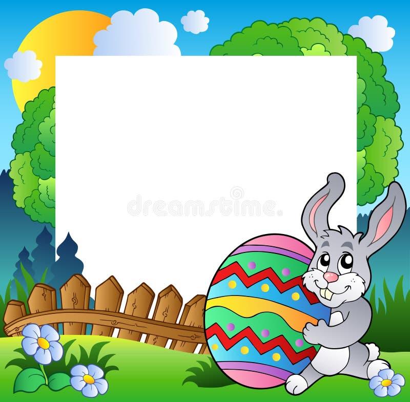 Trame de Pâques avec l'oeuf de fixation de lapin illustration de vecteur