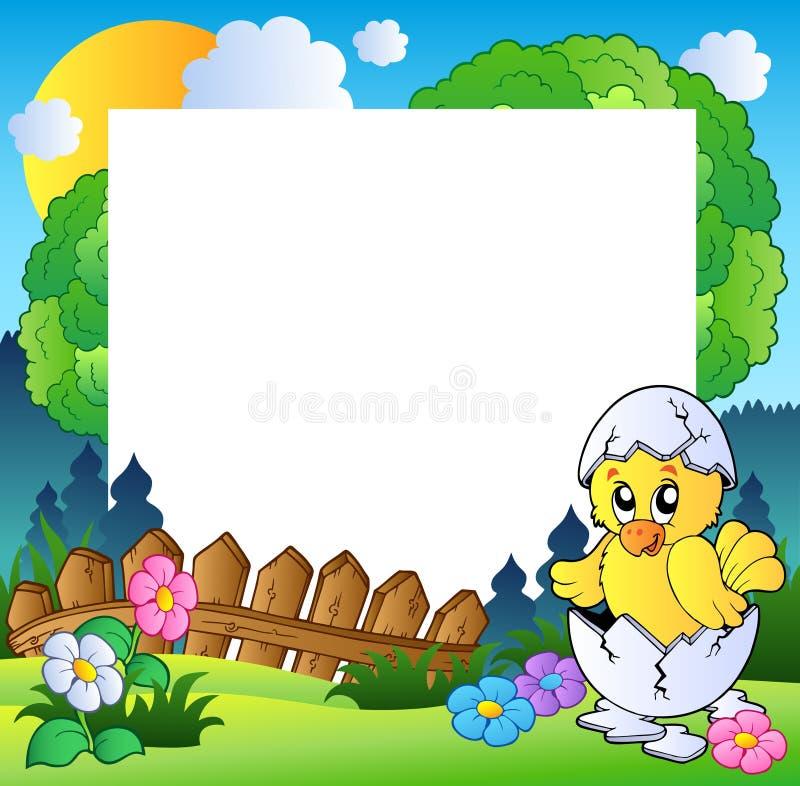 Trame de Pâques avec le poulet mignon illustration stock