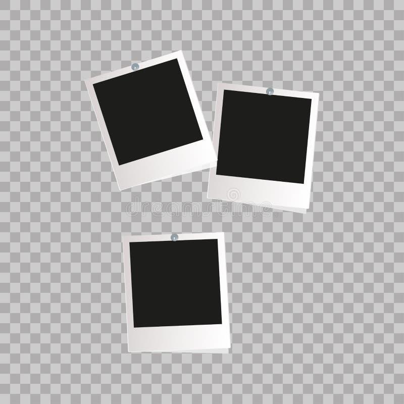 Trame de photo Frontière en plastique blanche sur un fond transparent Illustration de vecteur Rétro cadre Photorealistic de photo illustration de vecteur