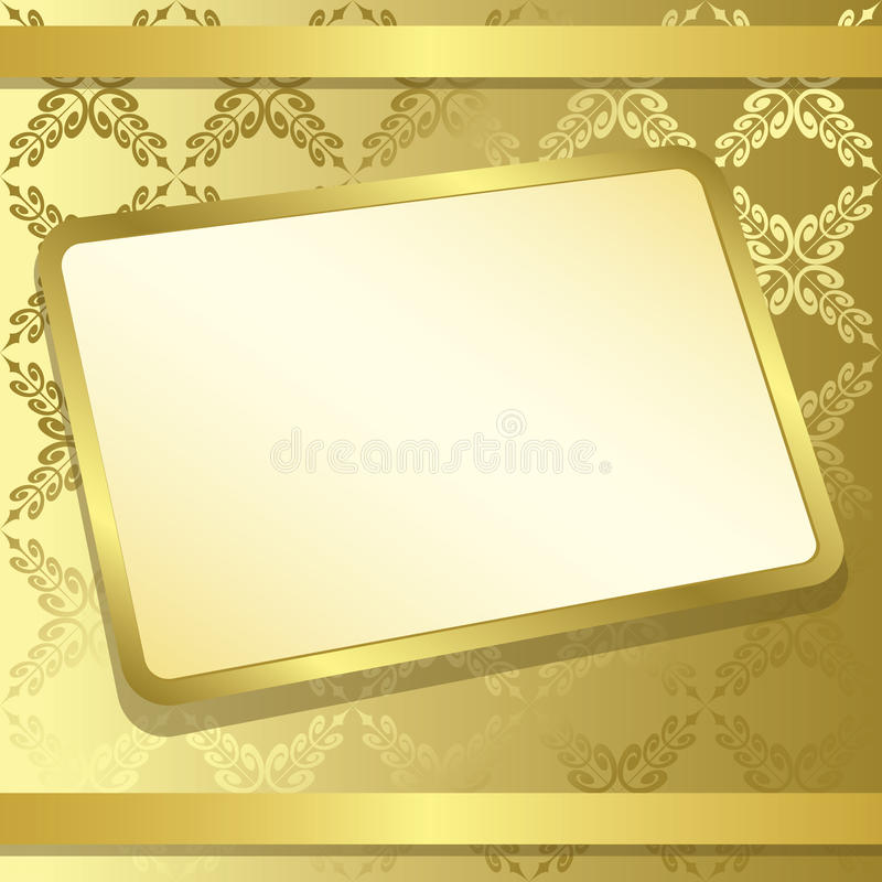 Trame de rectangle sur le fond d'or - vecteur illustration stock