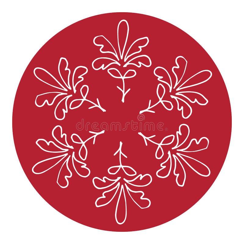 Trame de vecteur Beau modèle rond floral dans le style chinois Imitation de la peinture chinoise de porcelaine Aquarelle rouge illustration stock