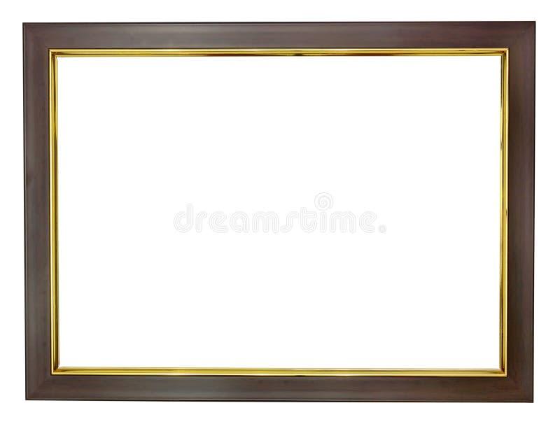 Trame en bois avec des bords d'or images stock