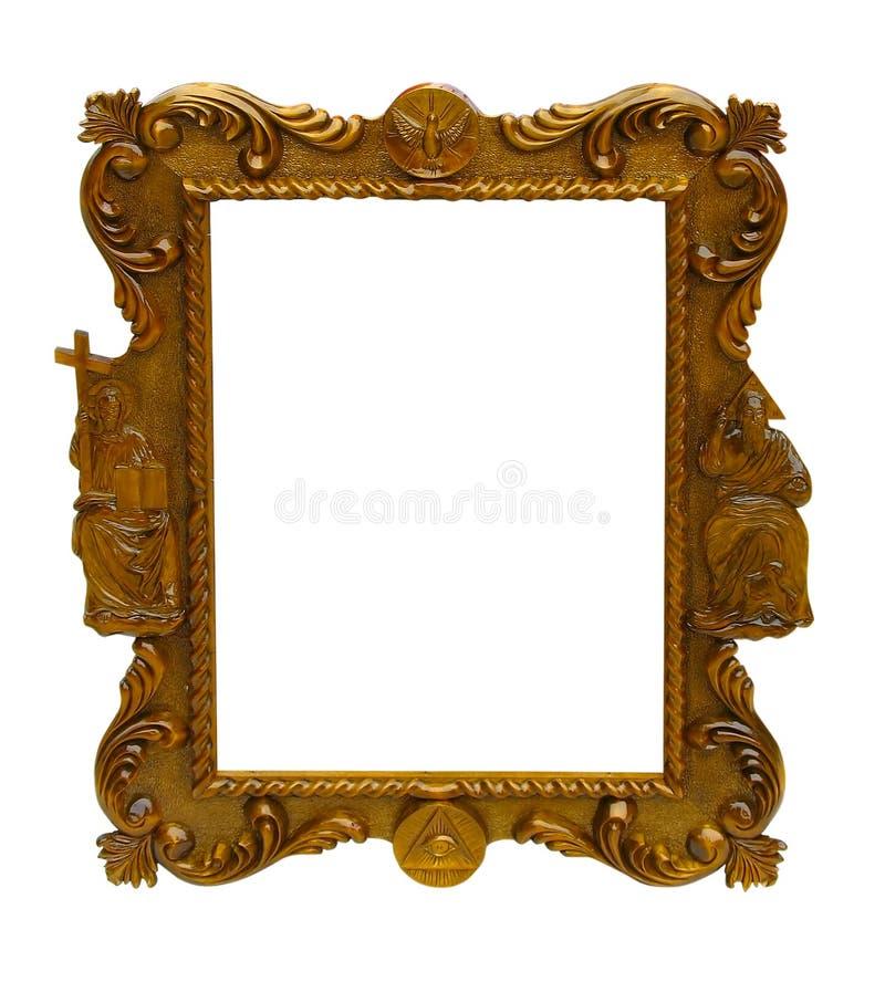 Trame en bois de configuration antique d'art d'isolement au-dessus du blanc photo stock