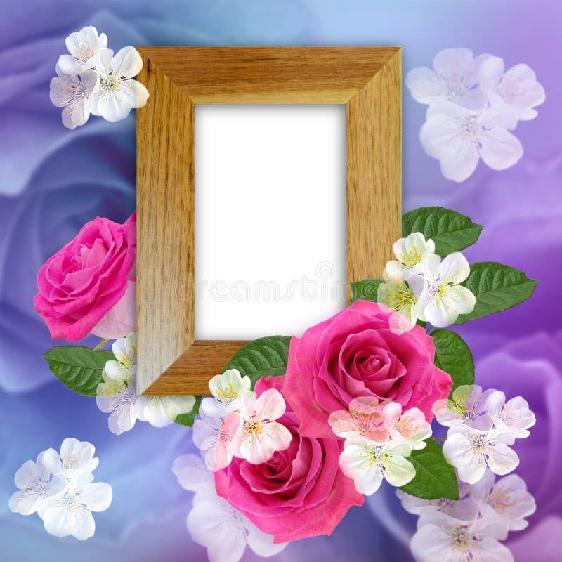 Trame en bois de photo avec des roses illustration libre de droits