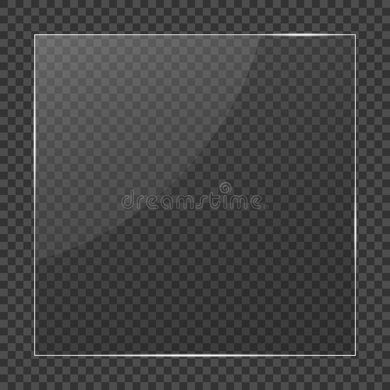 Trame en verre Verre clair réaliste sur le fond transparent Verre d'isolement de vecteur illustration de vecteur