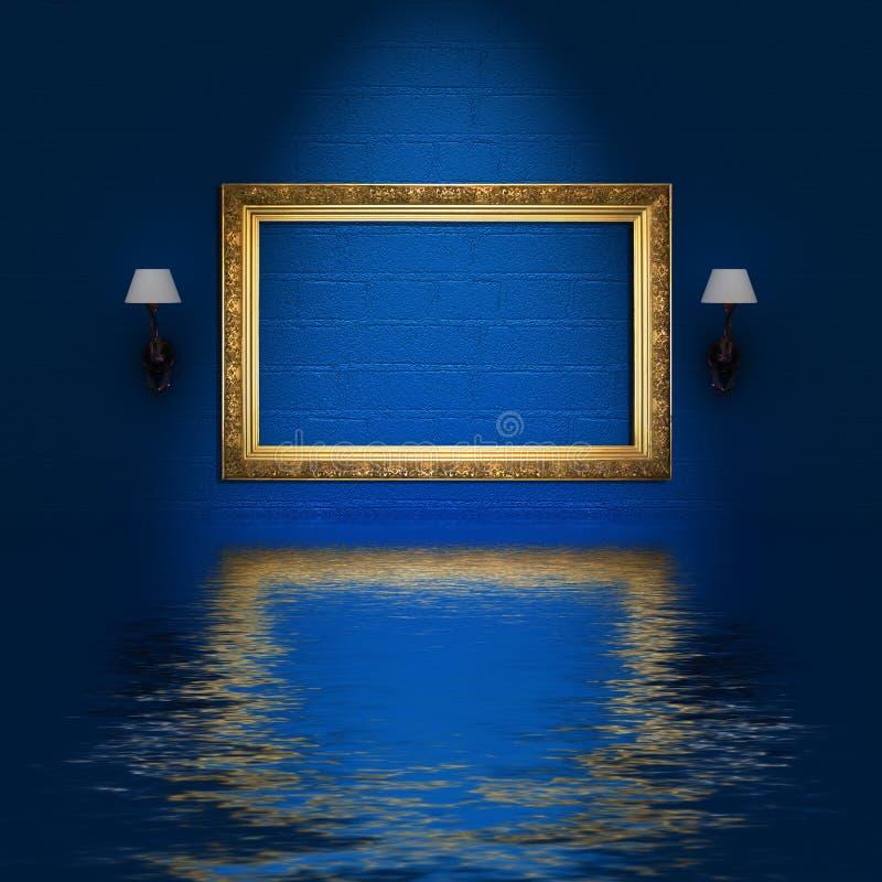 Trame et bougeoirs vides dans inter minimaliste bleu illustration libre de droits