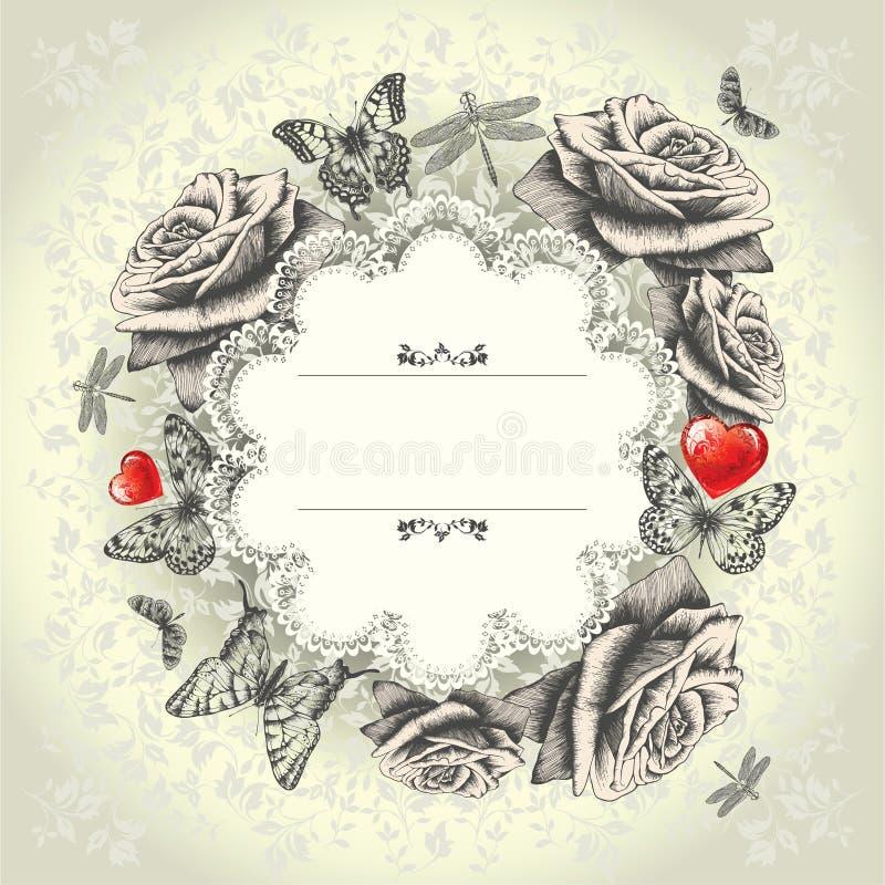Trame fascinante de lacet avec les roses de floraison, b volant illustration stock