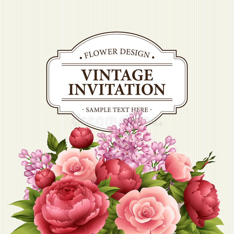 Trame florale avec des fleurs Bouquet floral avec la pivoine, rose et lilas Carte de voeux de cru avec des fleurs watercolor illustration stock