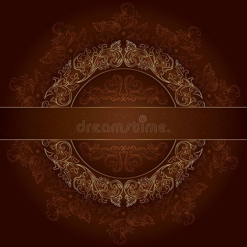 Trame florale d'or avec des configurations de cru sur le brun illustration libre de droits