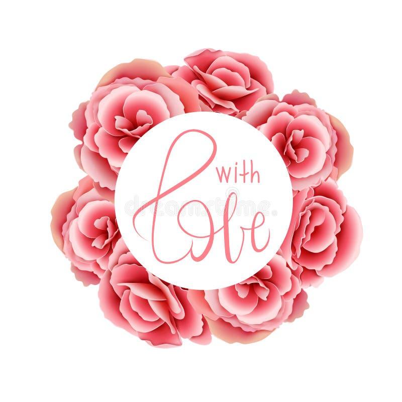 Trame florale Le rose a monté Avec le lettrage d'amour vecteur lumineux d'illustration de fleur de bouquet De illustration stock