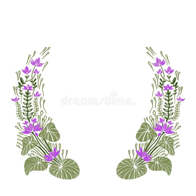 Trame florale tirée par la main Les rétros fleurs mignonnes ont arrangé une forme de illustration de vecteur