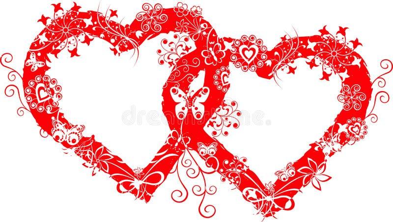 Trame grunge de valentine, coeur, vecteur illustration libre de droits