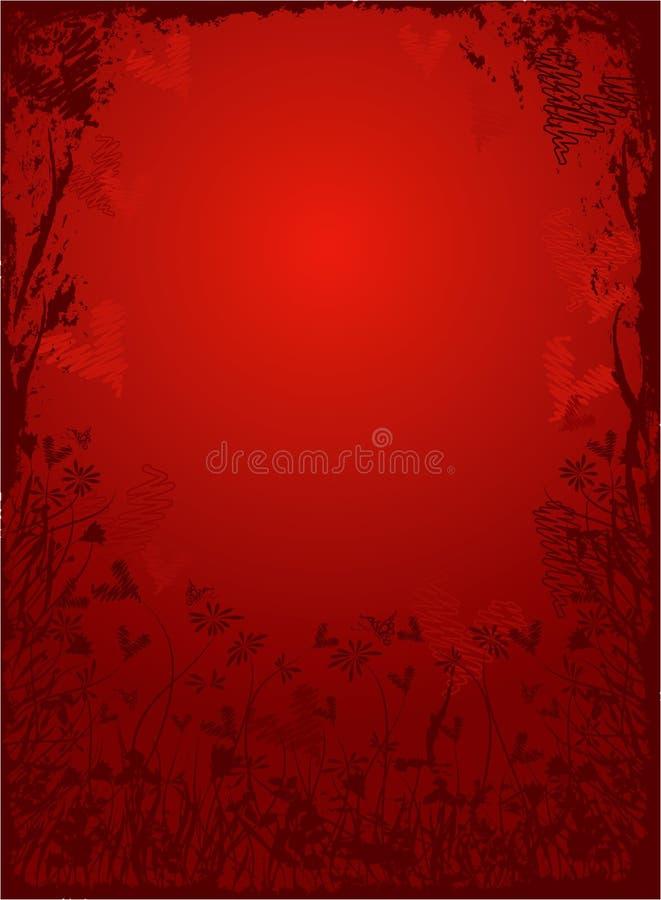 Trame grunge florale de Valentine, vecteur illustration stock
