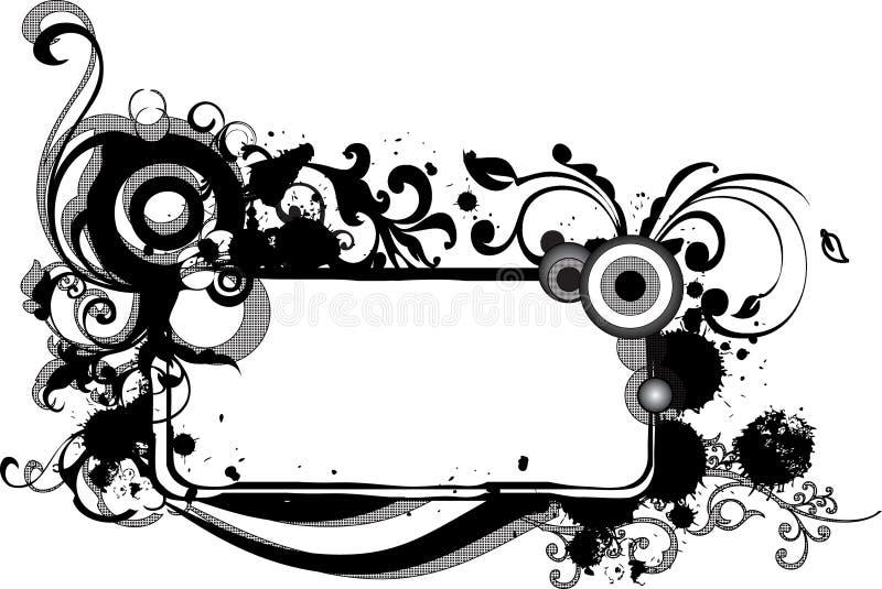Trame monochrome grunge avec des arabesques illustration de vecteur