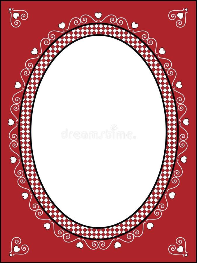 Trame ou étiquette de Valentine avec la garniture de guingan illustration libre de droits