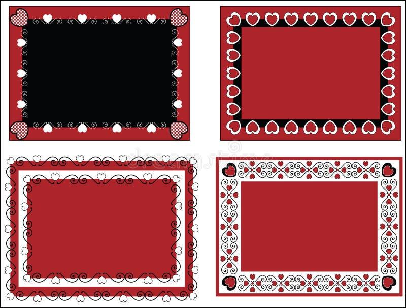Trame ou étiquettes de Valentine avec la garniture de guingan illustration de vecteur