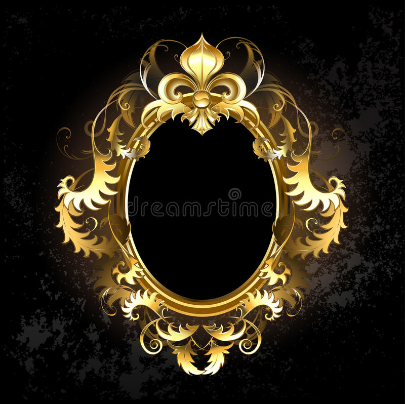 Trame ovale d'or illustration stock