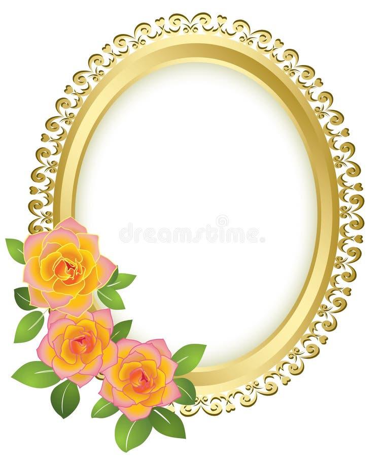 Trame ovale de vecteur d'or avec des fleurs illustration de vecteur