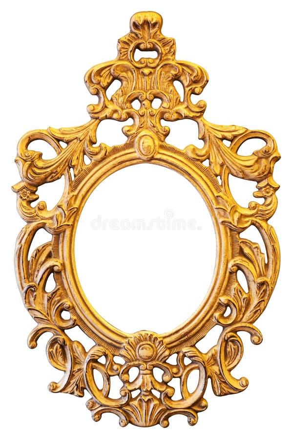 Trame ovale fleurie d'or images libres de droits