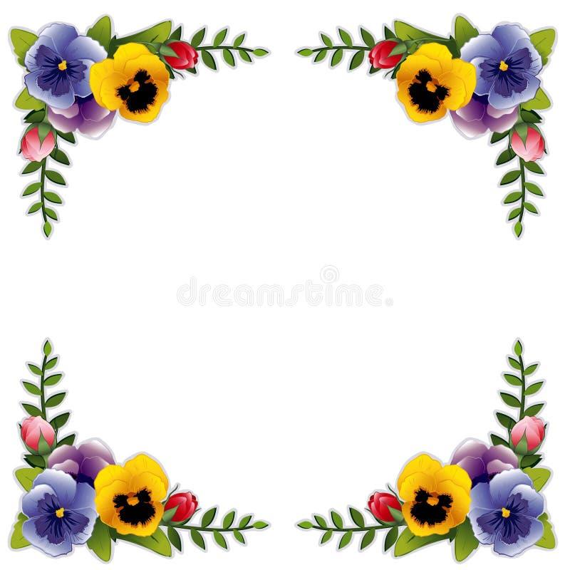 Trame, pensées et roses de fleur illustration de vecteur