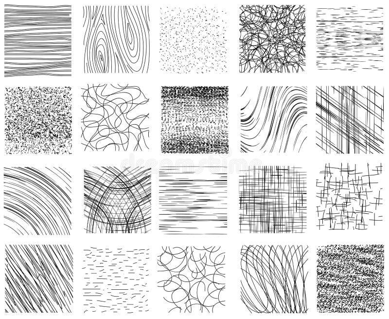 Trame, punteada y linear las texturas dibujadas de la tinta mano ilustración del vector