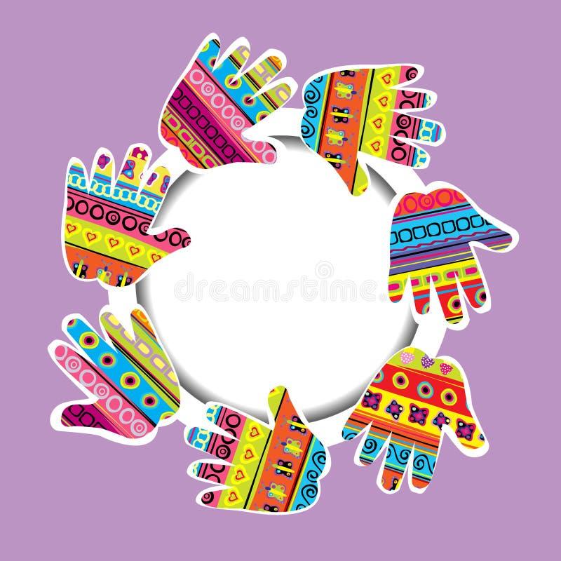 Trame ronde avec les mains modelées   illustration de vecteur