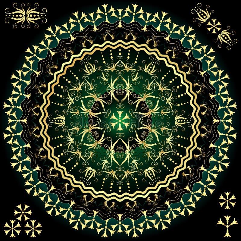 trame ronde de Vert-or illustration de vecteur