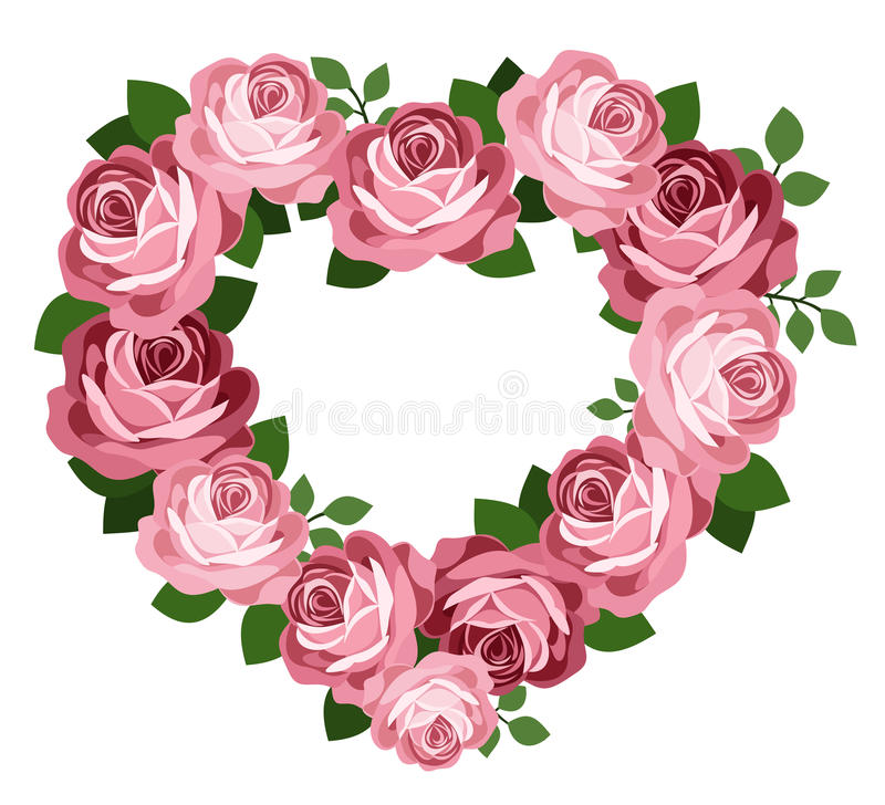 Trame rose de coeur de roses. illustration libre de droits
