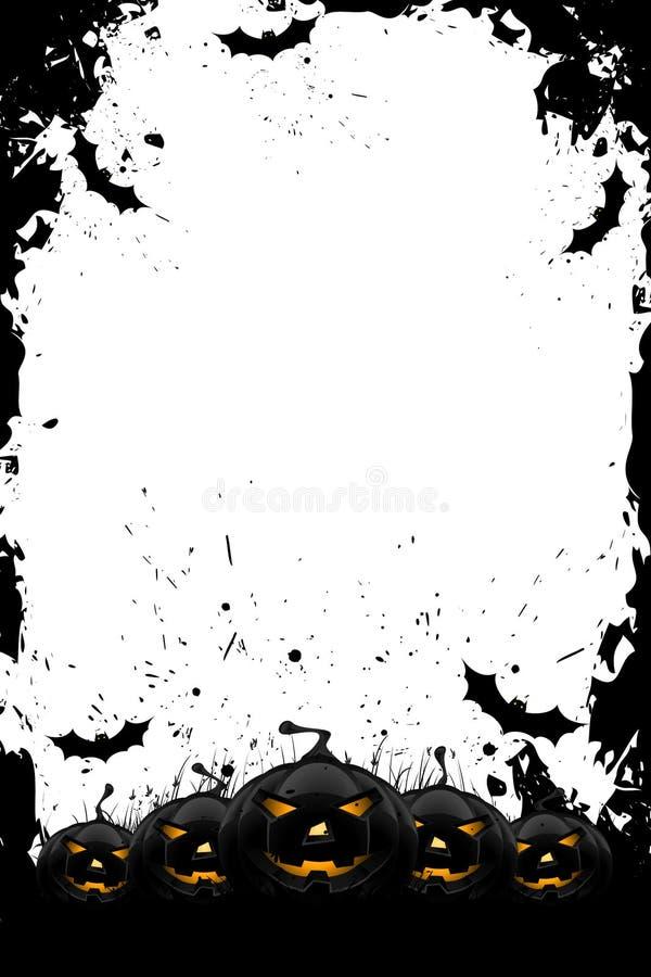 Trame sale de Veille de la toussaint avec des potirons et des 'bat' illustration stock