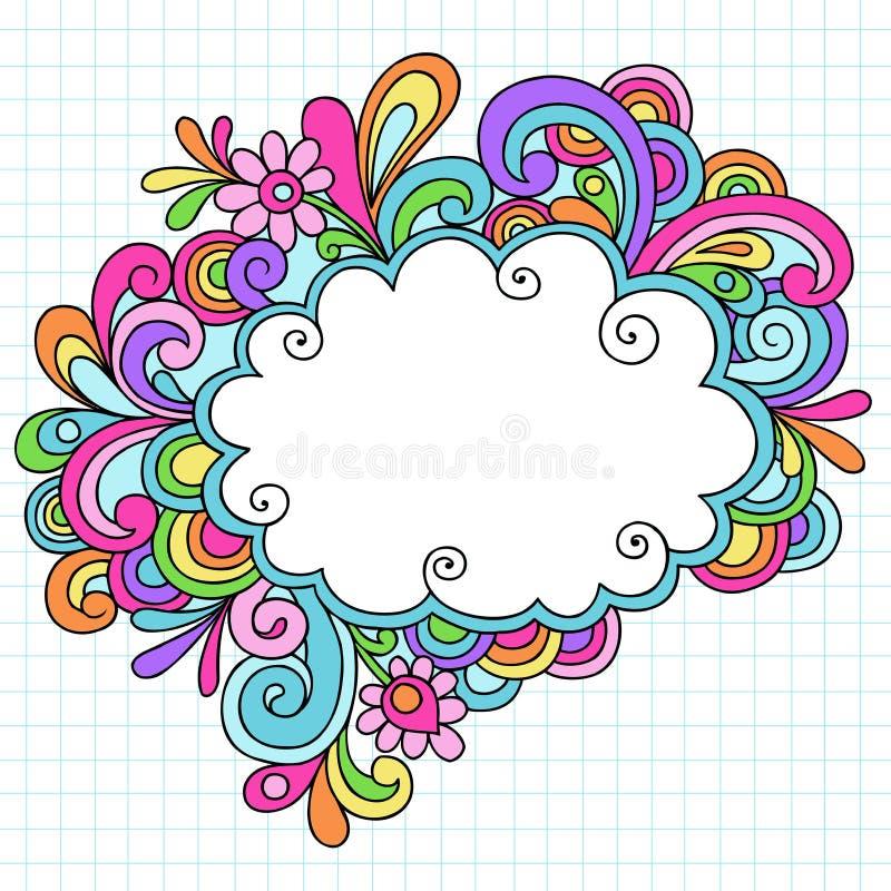 Trame tirée par la main de griffonnage de cahier de nuage illustration libre de droits
