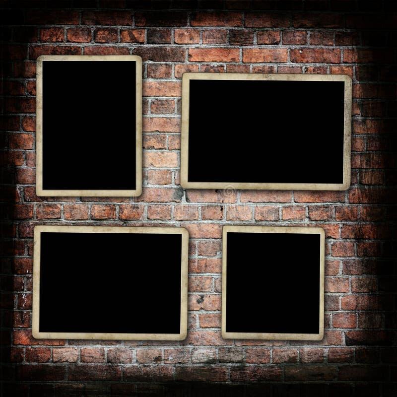 Trames blanc de photo sur le mur grunge photo libre de droits